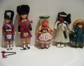 lot of 5 celluloid dolls