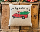 Merry Christmas Red Truck Pillow Cover, Various Sizes