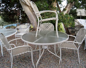 Mid Century Modern Brown Jordan Tamiami outdoor dining set 5 pieces  stackable chairs