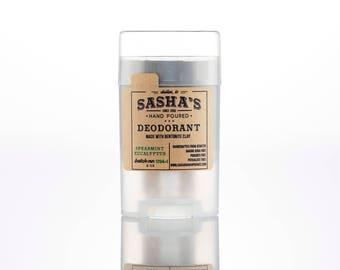 Natural Deodorant Spearmint Eucalyptus - sensitive skin - baking soda free - organic deodorant - charcoal deodorant - sasha - men deodorant