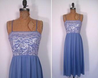 1970s lavender lace disco dress • 70s pastel purple party dress • vintage look of love dress