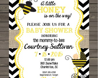 Bumblebee  Bee Baby Shower invitations little honey- printable or digital file - DIY invites ANY COLORS