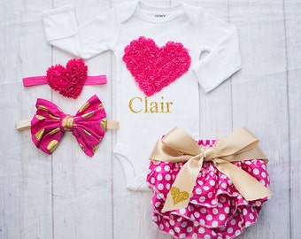 Valentines Outfit,  Baby's 1st Valentines, Baby Girl Clothing, First Valentines Day, Baby's First Valentines Outfit, My First Valentines