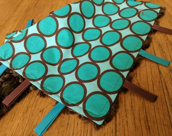 Baby Tag Blanket - Polka Dots - Brown Green - Gender Neutral - Ready to Ship