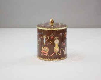 Metal Tin Made in England with Icons, Faux Wood Grain