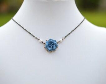 Dainty Dusty Blue Rose. Blue Rose Necklace. Bradley Dusty Blue Necklace.