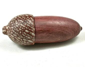 LV-3580  Purpleheart  and  Betelnut  Acorn Box, Pill Holder-SCREW CAP