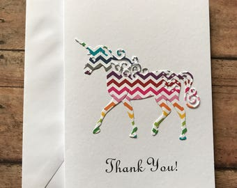 Unicorn Card, Thank You Cards, Stationery Set, Greeting Cards. Rainbow Chevron Unicorn, Magical Unicorn Cards, Blank Note Cards