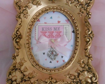 Vintage Gold Ornante Shabby Chic  Frame holding a ticket for love and kisses!!!
