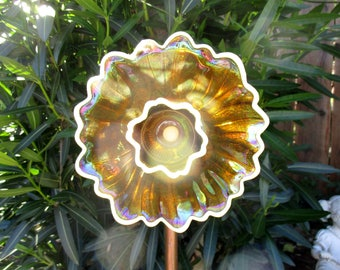 Vintage Glass Flower Garden Art Sculpture -  Summer Garden - Amber Glass, Carnival Glass - Outdoor Decor, Yard Art - garden gift