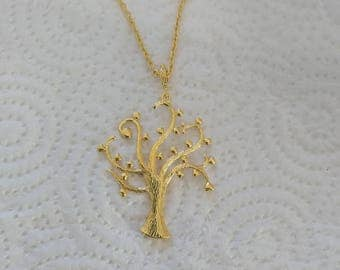 Tree of blessing Pendant, Tree of Wishes, Tree of love,  Jewel of  Nature,  gold   Necklace, Tree of Hearts, Tree of life,  Unique Texture