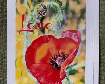 Love Inspirational Greeting Card Red Poppy 5x7