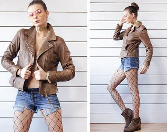 Vintage soft brown genuine leather quilted cuff pocketed 90s rocker moto style jacket M L