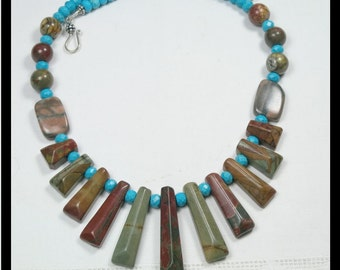 Gemstone Fan Necklace. Jasper and turquoise blue Howlite.  Earthy tones, tribal, primitive, unique.  Breciated Jasper Collar. One of a Kind
