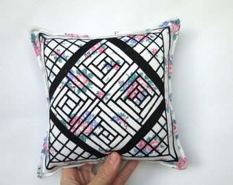 Handmade Screen Printed Pillow with Quilt Square Drawing Floral Pattern Denim Stripes