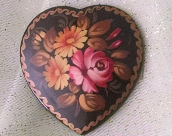 Brooch Vintage Russian Miniature Painting on Wood Signed C Bar Clasp Heart Shape Big Bold Collectible Boho Chic