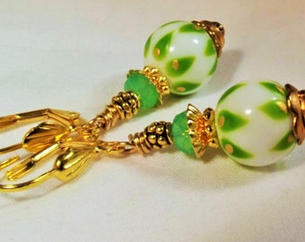 Earrings Handmade Unique Glass and Crystal Beads with GP Brass Beading Exotic Original Forest to Runway History Inspired Boho Chic