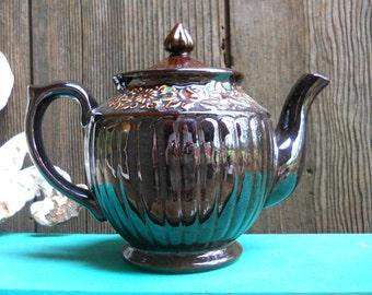 Vintage 1940s English Bistro Cottage Redware Floral Brown Pottery Teapot French Country Farmhouse Kitchen Industrial Primitive Tea Pot