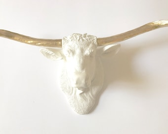 White Gold LARGE Long Horn Cow Head animal head Faux Taxidermy cow wall mount wall hanging faux animal head fake animal head farmhouse cabin
