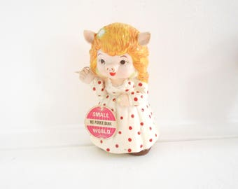 Ms Porkie Bank / Miss Piggy / 60s 70s / Taiwan / White dress with Red Polka-Dots / Muppet / Pearl Necklace / Girl Bank