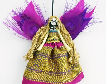 Dead Fairy hanging ornament, Day of the Dead fairy, handmade peg doll ornament, OOAK decoration