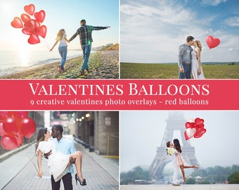 Valentines Balloons photo overlays, valentines photo overlays for Photoshop, love overlays, wedding overlays, valentines overlays
