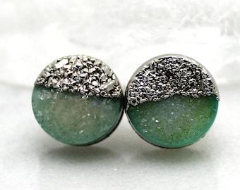 SALE druzy earrings, druzy stud earrings, druzy studs, silver earrings, gifts for her, electroformed jewelry
