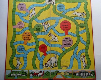 Vintage 1940s Mr. Doodle's Dog Game, Complete but has No Box - Wonderful Graphics, for Family Game Night, Collectors, Gift, Display
