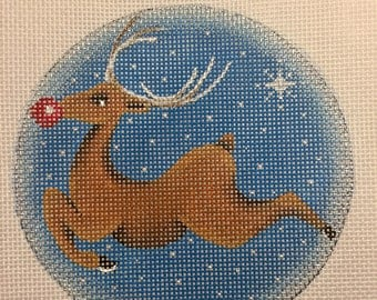 "Hand Painted Needlepoint Canvas Rudolph Medallion 18 ct Canvas 4"" Ornament"