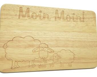 Bread Board breakfast Board Moin Moin sheep engraving - breakfast board - engraving - sheep - text of your choice