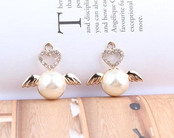 6pcs Alloy heart and wing Diamond Pendant Pendant Bracelet Necklace  Accessories