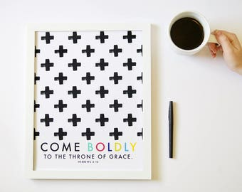 Come Boldy To the Throne // Hebrews Christian Scripture Print by Mercy Ink
