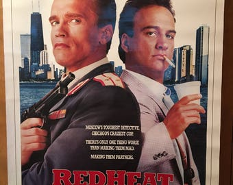 Movie poster, Red Heat with Arnold Schwarzenegger.