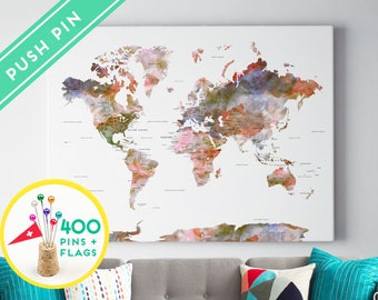 Push Pin World Map Watercolor Terra - Countries, Capitals, USA - CANADA states - 240 Pins