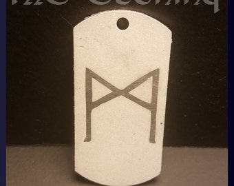 Mannaz Nordic Rune etched dog tag