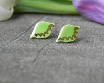 Gold Green Boho Ceramic Leaf Earring Studs, Apple Green Porcelain Earrings, Small 18 karat Gold hand painted Studs, Surgical Steel Post