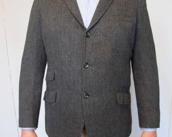 1960s MOD Gray herringbone tweed 3 Button Skinny Lapel Suit Jacket wool 44 chest