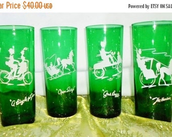 ON SALE Vintage Emerald Green Drink Glasses, Set Of 4, White Designs, Open Sleigh, A Bicycle Built For Two, The Hansom, Gas Buggy, Entertain