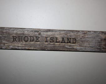 """Hand Made Driftwood Wood Burned Sign, Wall Hanging, Reads """"Rhode Island"""", Home Decor, Cottage Chic, Beach House, beach art, upcycled"""