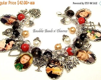 ON SALE Gone with The Wind Charm Bracelet, Picture Charm Bracelet, Photo Charm Bracelet, Literary Charm Bracelet, Book Lovers Charm Bracelet