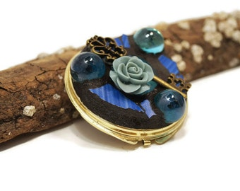 Mosaic Double Sided Compact Mirror, Marbles Key and Rose Make Up Mirror, Make Up Mirror, Blue Vintage Tile Mirror, Vanity Mirror, Glass