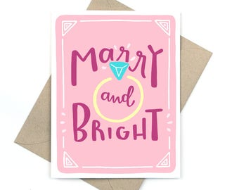 marry & bright - holiday engagement card