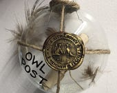 OWL POST Ornament, Inspired by the Harry Potter - Hogwarts, Ministry of Magic wax seal w/ scroll and feathers