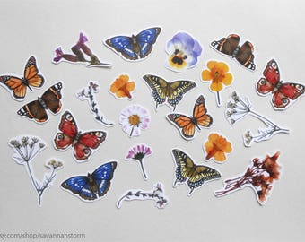 sticker set- butterflies and pressed flowers