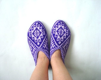 knitted slippers, womens slippers, purple lilac, Knit Turkish Socks Slippers, knitted home shoes, house shoes, purple socks slippers, girls