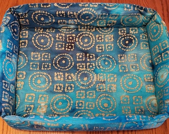 "The ""Box"" Bed for Pets, Aqua, Blue and Gold Batik"