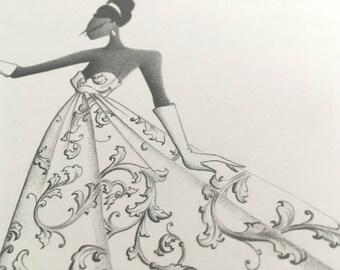 fine art fashion illustration - winter decor - decor - filigree - fashion sketch