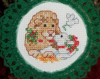 Lion and Lamb Counted Cross Stitch Christmas Ornament