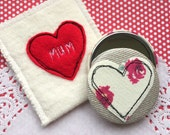 Pocket Mirror with liberty fabric applique heart