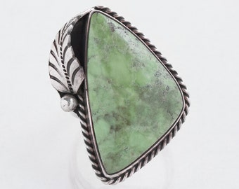 Turquoise Ring - Vintage Sterling Silver Green Turquoise Ring